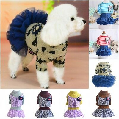 Small Dog Skirt Clothes Princess Tutu Dress Pet Puppy Warm Coat Apparel Costume