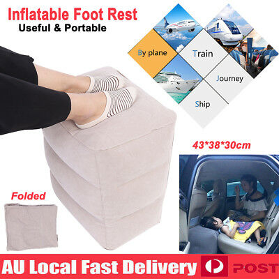Inflatable Foot Rest Air Pillow Travel Plane Train Office Home Car Leg Relax Pad