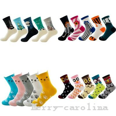 (5 Pairs) Novelty Cats Crew Socks Women Girls Animal Owl Cat Cotton Fashion Sock