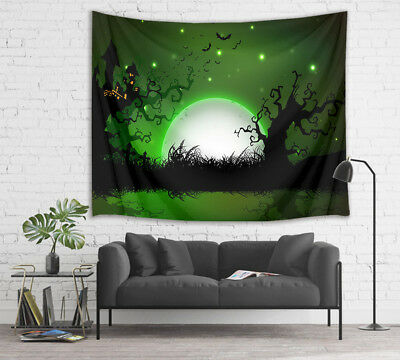 Halloween Moon Spooky Tree House Tapestry Wall Hanging Living Room Bedroom