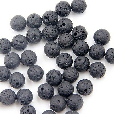 180Pcs Black Volcanic Rock Gem Beads Finding For Jewelry Making