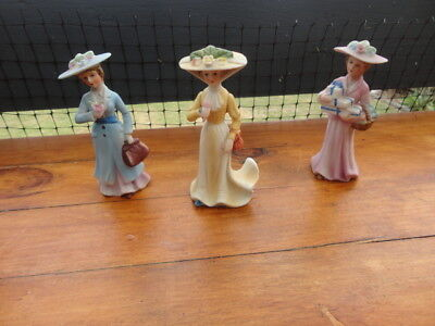 2 Vintage Ceramic Early 20th Century Figurines (Mary Poppins type Apparel)