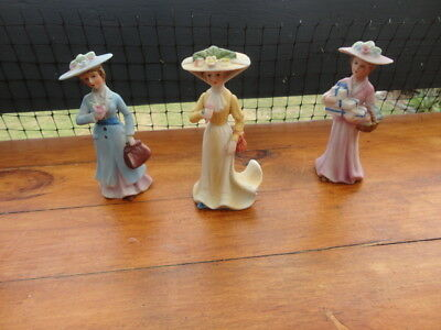 3 Vintage Ceramic Early 20th Century Figurines (Mary Poppins type Apparel)
