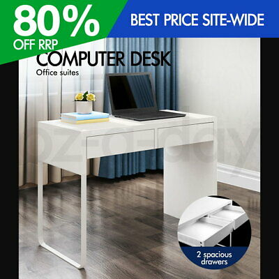 Artiss Office Computer Desk Table Home Metal Drawer Cabinet Student Study White