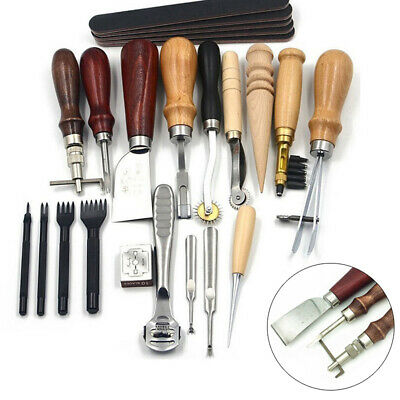 18x Vintage Leather Craft Kit Stitching Sewing Beveler Punch Working Hand Tools