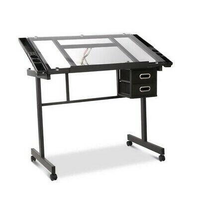 Artiss Drawing Desk Drafting Table Craft Adjustable Glass Art Tilt Drawers Black