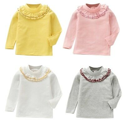 Baby Toddler Girls Toddler Long Sleeve T-Shirt Solid Ruffle O Neck Warm Tops USA