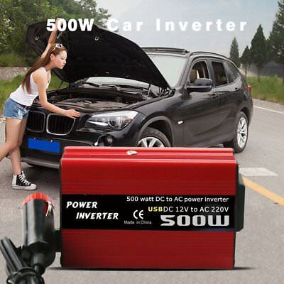 500W MAX 1000W DC 12V to AC 240V Power Inverter Converter Dual 2USB Charging PA