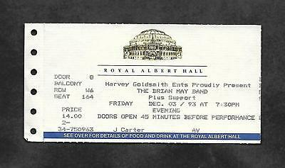 BRIAN MAY - Back To The Light 1993 Tour Royal Albert Hall Concert Ticket (Queen)
