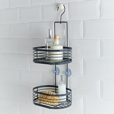 2 Tier Hanging Bathroom Shower Caddy 2 Baskets Strong Suction Hold
