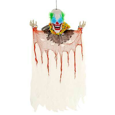 Halloween Haunters Animated Hanging Speaking Circus Clown LED Prop Decoration