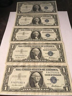 FIVE ONE DOLLAR Silver Certificate Series 1957 Two Pr With ...