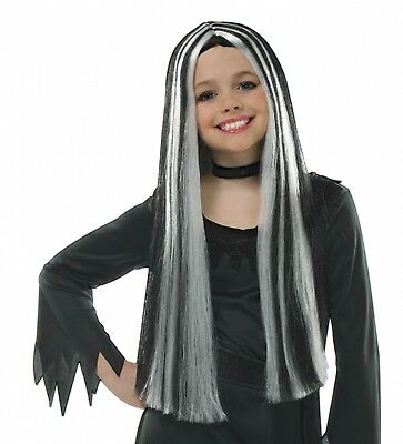Girls Long Black Grey Old Witch Halloween Fancy Dress Costume Outfit Wig Hair