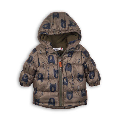 Baby Boys All Over Bear Print Khaki Hooded Puffa Jacket Coat (0-24 Months)