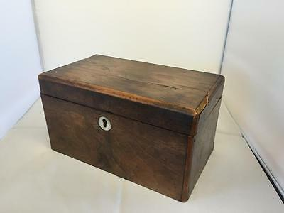 Antique Victorian Rosewood Tea Caddy 22.5cm x 13cm x 12.5cm