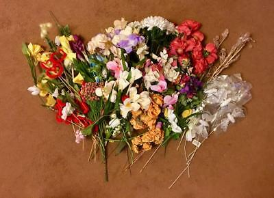 Job Lot Of Used Silk And Faux Flowers