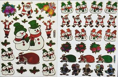 CHRISTMAS STICKERS x 2 sheets *top quality* Snowman, Father Christmas, Holly