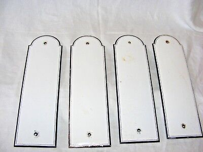 Antique French Art Deco Enamel Door Finger Plates Bistro Push Plates Nautical