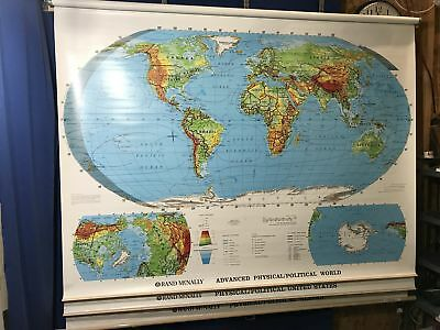 """RAND MCNALLY PHYSICAL Political World 70"""" Pull Down Map 856S"""