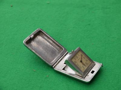 Superb Rare Working Antique Hm Solid Silver Miniature Pocket Travel Clock