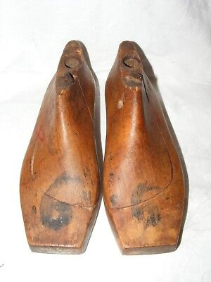 Antique French Shoe Last Forms Molds Shapers Cobblers Treen Metal Base Children
