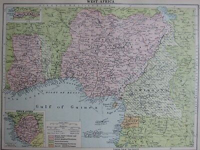 1935 Map West Africa French Guinea Gold Coast Nogeria Cameroons Britsh Colonies