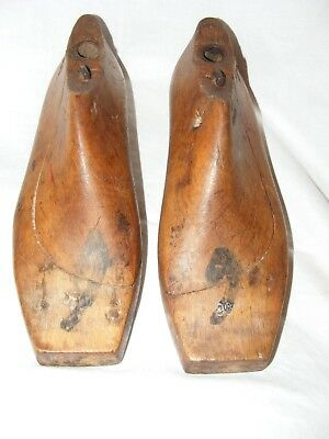 Antique French Shoe Last Forms Molds Shapers Cobblers Treen Metal Base Women's