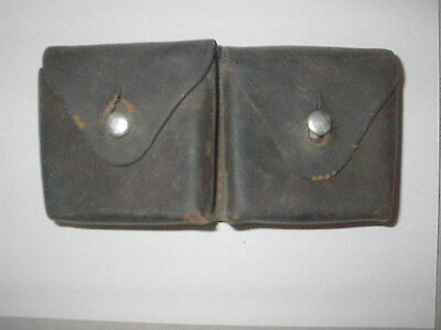 Antique leather 2 compartment cartridge holder  signed Swiss