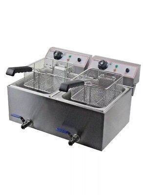 Infernus Large Twin Tank Fryer, electric table top fryer, 2x12 litre 13amp