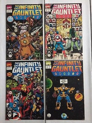 Lot of 4 INFINITY + GAUNTLET 1 VF/NM, 2 F, and 3 VF/NM no 44 Thanos First Corvus
