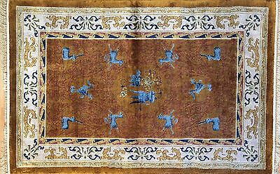 Classic Chinese - Vintage Art Deco Rug - Art Nouveau Silk Carpet - 4 x 6 ft.