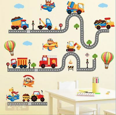 Wall stickers animal truck world track car Decor Removable Nursery Kids Baby