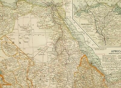 1903 Antique Map North East Africa Tripoli Egypt Nile Delta Suez Canal Abyssinia