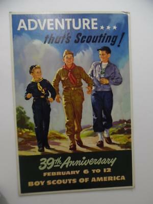 1949 Lawrence Wilbur Boy Scouts of American Poster 39th Anniversary Vintage VG