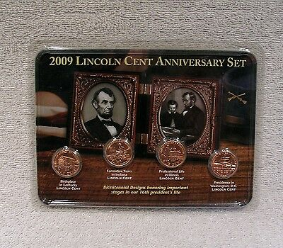 2009 Lincoln Cent Anniversary Set - Birth  Formative  Professional  Presidency