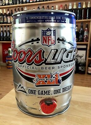 COORS LIGHTS BEER 5 Liter Mini Keg Official Super Bowl XLI. NFL Beer Collectible