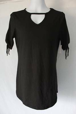 12fc55e8d98f51 Womens Tunic Size Large Top Black Cut Out Neck Tie Sleeve Shirt Blouse  Stretch