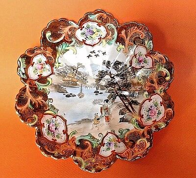 Imari Scalloped Bowl Hand Painted And Gilded With Geisha River Scene Japan