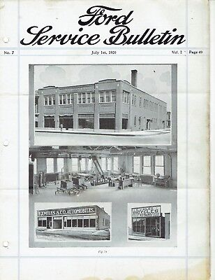 Ford Service Bulletin July 1 1920 Original Model T Car and Fordson Tractor