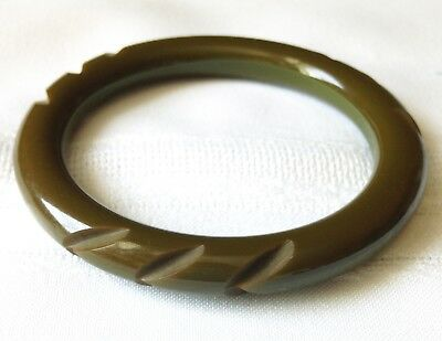 Vintage Bakelite Carved Dark Khaki Green Pea Soup Bangle Bracelet, Tested