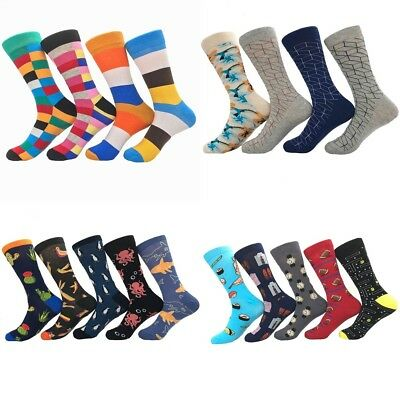 Mens Combed Striped Cotton Socks Animal Floral Bird Novelty Casual Stockings #N