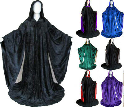 Velvet Robe Halloween Hooded Wizard Medieval Renaissance Cloak Line With Sleeves