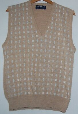 Vintage 50s Puritan Mens Vest Tan White Diamond Pattern Medium M Acrylic