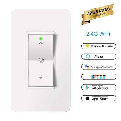 Smart 1 Gang WIFI Light Dimmer In Wall Power Switch Touch Control For Home IFTTT