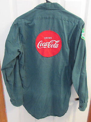 Vintage COCA-COLA Delivery Driver BUTTON Long Sleeve Shirt Patches SPRITE Old L