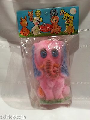 New In Package - Vintage Flocked Pink Elephant Bank - Hong Kong