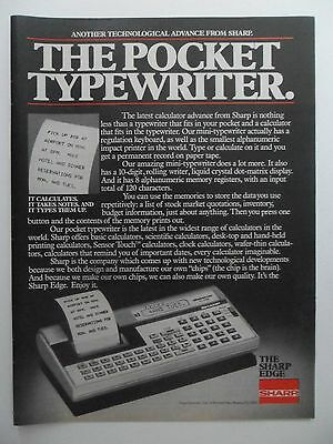 1981 Print Ad SHARP Electronic Printing Calculator ~ Pocket Typewriter