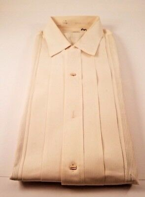 Vintage Antique Arrow White French Cuff Tuxedo Shirt with Pleats