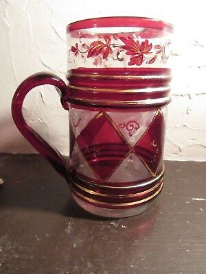 Antique 19Th Century Hand Blown Glass Pub Mug With Gilding And Enamel