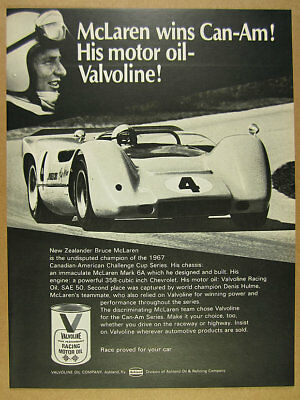 1968 Bruce McLaren Mark 6A Can-Am Race Car photo Valvoline Racing Oil print Ad